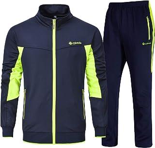 Men's Track Suits Sports Sweatsuits Full Zip Jackets Athletic Pants Zipper Pockets