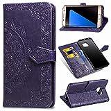 MRSTER Funda Compatible con Samsung Galaxy S7 Edge, PU Cuero Flip Folio Carcasa, Cierre Magnético, Función de Soporte, Billetera PU Cuero Funda para Samsung Galaxy S7 Edge. SD Mandala Purple