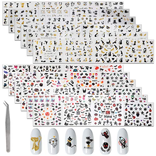 MWOOT 48 Stück Nagelsticker Selbstklebend (Halloween/Katzen Motive), DIY Nagelkunst Nagel Aufkleber - Nail Art Sticker Set