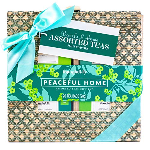 Thoughtfully Gifts, Assorted Teas in Printed Bamboo Gift Box, Set of 4 Flavors, Including Earl Grey...