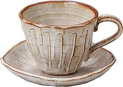 結彩の蔵 カップ_ソーサー 白均窯十草コーヒー 200cc テ608-256