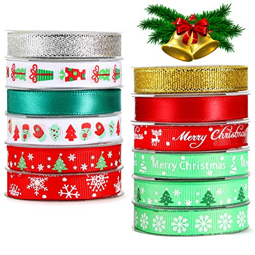 Christmas Wrapping Ribbon with Pattern Merry Christmas Snowflakes Christams Tree Red and Green Tape Silver Golden Glitter Ribbon Rolls for Xmas Gifts Packing Bows Christams Party Decoration (60 yards)
