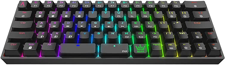 DIERYA Bluetooth 5.1 Mechanical 60% Gaming Keyboard, Wired/Wireless Dual Spacebar Hot-Swappable Waterproof Type-C 66 Keys Computer Keyboard with Full Keys Programmable (Gateron Optical Blue Switch)