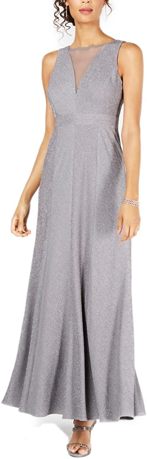 Nightway womens Ribbed Metallic-knit Illusion Gown