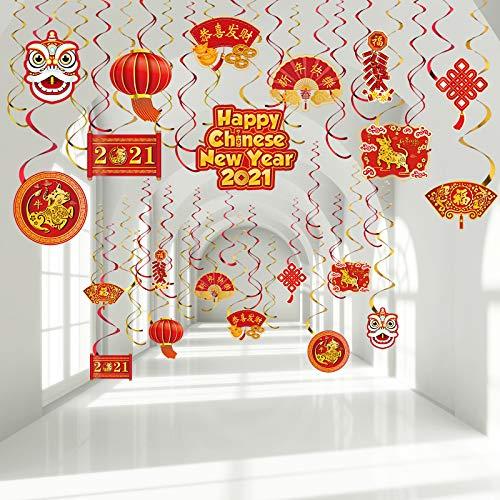30 Stücke Happy Chinese New Year 2021 Hängende Spiral Dekoration, Chinesische Rote Laternen Chinesische Knoten Zeichen Folie Decken Wirbel für Ochsen Chinesisches Neujahr Frühlingsfest