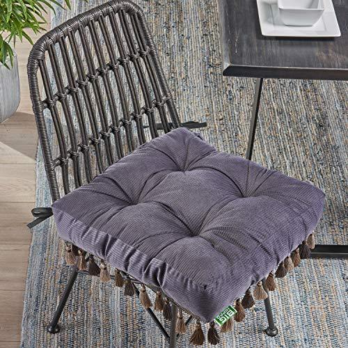 Big Hippo Sitzkissen, Großes Stuhlkissen mit Bändern aus 100% Baumwolle für Indoor und Outdoor Sitzauflage Sitzpolster Bürostuhl Sitzerhöhung für Stühle in Haus, Garten, Autositz, Büro (48x48x10cm)
