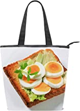Canvas Shopping Tote Bag Panna Cotta Breakfast Apricots Dessert Grocery Bag