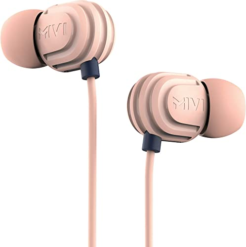 Mivi Rock and Roll E5 Wired In Ear Earphones with HD Sound and Extra Powerful Bass with Mic Tangle Free Extra Length Cable Earphones for Mobile Beige