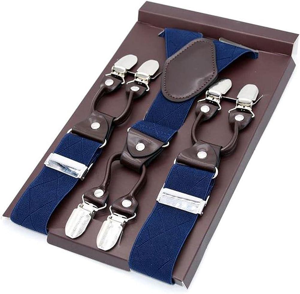 Male Suspenders Leather Jacquard 6Clips Trousers Man Braces Adjustable 8Color