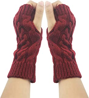 Fashion Warm Soft Comfortable Wrist Gloves Winter Fingerless Women Girls Arm Gloves Mitten Knit Crochet Christmas Gift Ladies