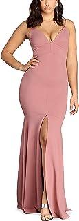 Kvinnor Lång Off-Shoulder Crepe Klänning Balklänning Formell Slits Klänning Aftonklänning Balklänning