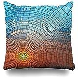 Asekngvo Cojines Fundas Mosaico Colorido Puesta de Sol Cielo Azul Mar Vidriera Reflejo Decoración del hogar Funda de Almohada Tamaño Cuadrado 18