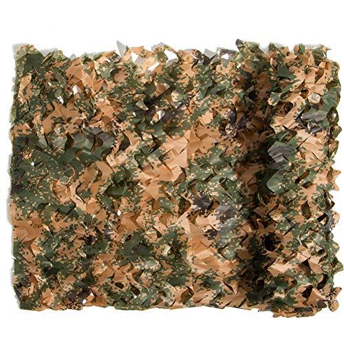 Sensong Red de camuflaje a granel de camuflaje Red militar ligera y duradera sin rejilla para decoración de sombrilla Caza disparos ciegos (Woodland Digital, 1,5 x 10 m = 5 x 33 pies)