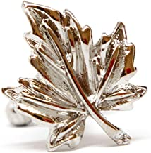 Men's Executive Silver Tone Fall Season Maple Leaves Cufflinks Cuff Links