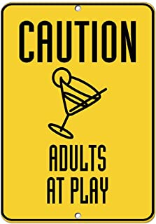 Kent Sparks Warning Tin Sign - Adults at Play Traffic Sign 16 x 12 Aluminum Metal