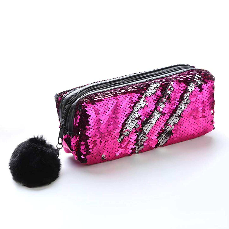 条約特徴鑑定ハンドバッグ絶妙な化粧品バッグ旅行バッグ筆箱耐久性のあるカラフルなスパンコール(マットブラック)