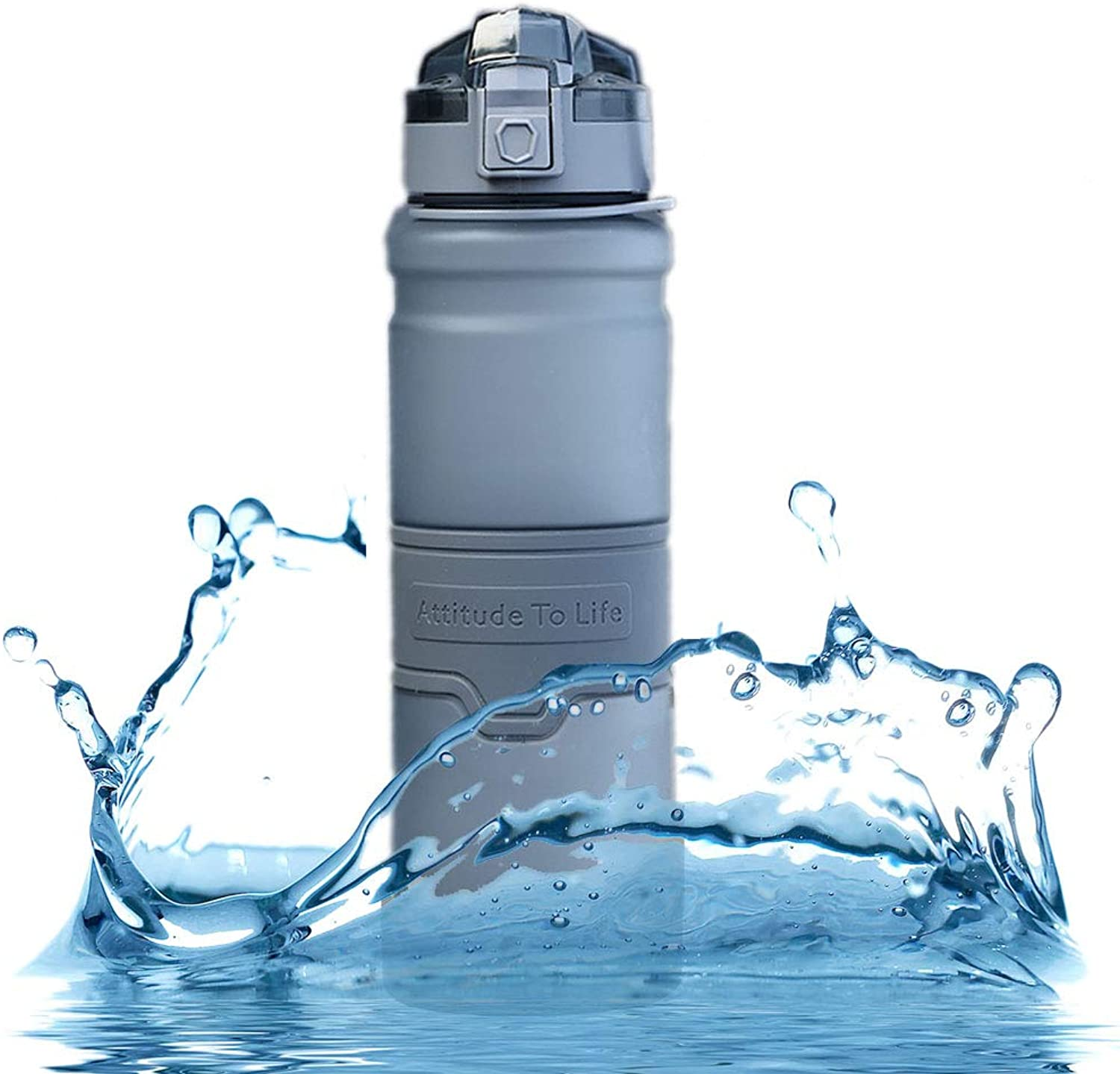 Leakproof Sport Water Bottle 1 Litre, Non Toxic Plastic Cup, Fast Water Flow, with Filter, Wide Mouth and Secure Locking Lid, for Running, Gym, Yoga, Outdoors and Camping