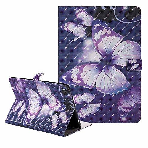 iPad Pro 10.5 Pouce Coque Ultra Svelte Bling Coloré 3D Modèle Cuir Coque Portefeuille Stand Protecteur Étui avec Réveil/Sommeil Automatique pour Apple iPad Pro 10.5 ( Libéré dans 2017) Violet Papillon