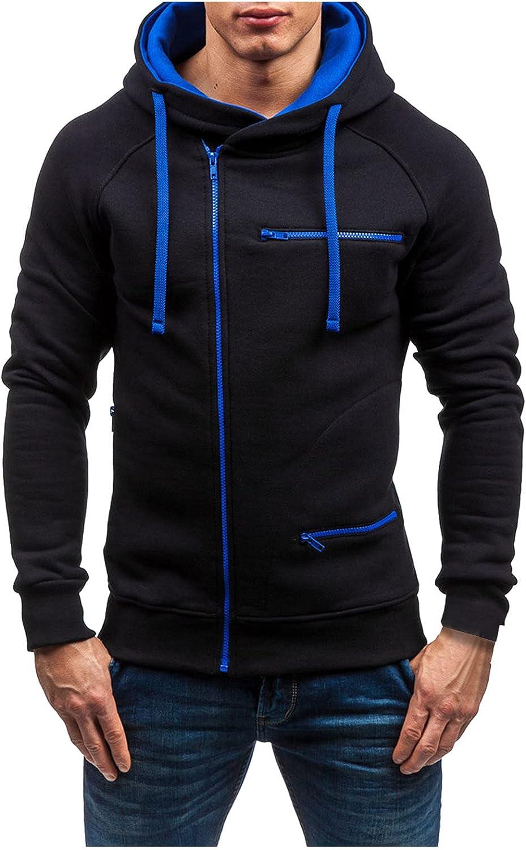 BEUU Mens Zipper Hoodies Jacket Warm Winter Solid Plain Cozy Open Front Coat for Men Fleece Hooded Sweatshirts Outwear