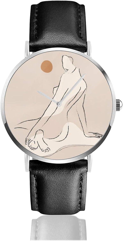 Reloj desnudo Movimiento de cuarzo impermeable correa de reloj de cuero para hombres mujeres simple reloj casual de negocios