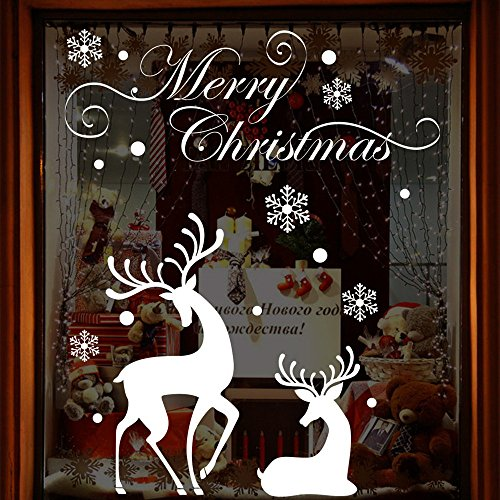 About1988 Weißer großer Elch Fensteraufkleber Schneeflocke Fensterbild PVC Entfernbarer Elektrostatischer Weihnachtssticker, Weihnachten Fensterdeko selbstklebend Fensterfolie (92 * 74cm)