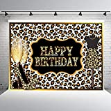 PHMOJEN Leopard Print Happy Birthday Backdrops for Photography 7X5FT Sexy Woman Stiletto Wine Glasses Photo Backgrounds Party Wall Paper Room Mural Props BJLSPH301