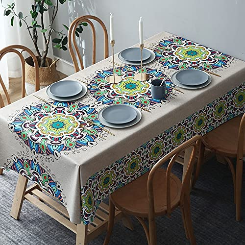 sans_marque Paño de mesa, algodón y lino lavable, tela de mesa de costura de borla, cubierta de mesa de comedor, adecuado para la decoración de mesa de cocina y mesa de comedor135* 200CM