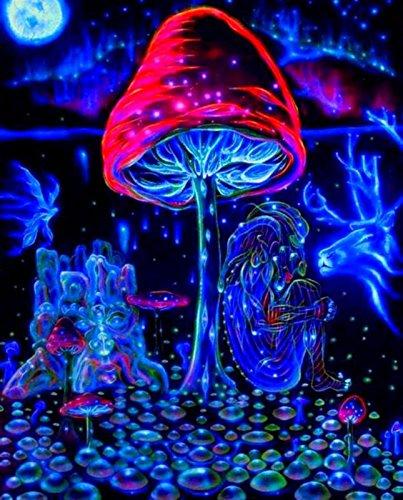 NewBrightBase Mushrooms Trippy Art Fabric Cloth Rolled Wall Poster Print - Size: (28