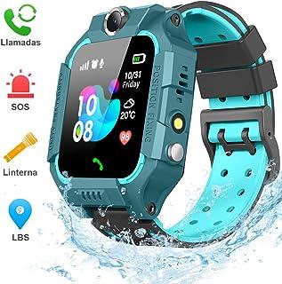 BANLVS Smartwatch Niños 2019 Nuevo Reloj Inteligente Niños con Flashlight IP67 LBS SOS Cámara Smartwatch con Ranura para Tarjeta SIM Regalo Niño Niña de 3-12 Años Compatible con iOS/Android