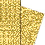 Kartenkaufrausch Zartes Geschenkpapier Set mit Retro Sternen Blumen, gelb, für tolle Geschenk Verpackung, Designpapier, scrapbooking, 4 Bogen, 32 x 48cm
