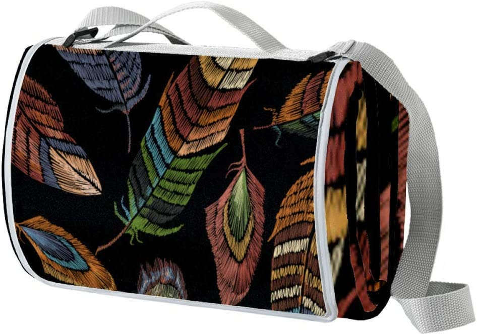 XJJUSC Color Feathers Waterproof Rapid rise Picnic Blanket Large Extra Max 47% OFF Sa
