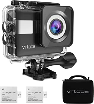 """4K Action Camera, Virtoba by JVMAC WiFi 2.31"""" LCD Touchscreen 170° Wide-Angle Lens Underwater Action Cam Sony Sensor 20MP Sports Camera with 2 Batteries included in Mounting Accessories Kits"""