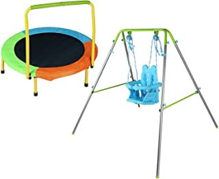 HLC A-Framed Baby Folding Toddler Swing Indoor & Outdoor Swing Set+Folding Indoor Junior Trampoline with Handle