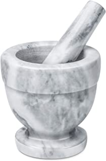 Flexzion Mortar and Pestle Set, White - Solid 4 inch Heavy Granite Molcajete Stone Grinder Crusher Bowl For Guacamole, Herbs, Spices, Garlic, Medicine Pills, Grain, Kitchen, Cooking