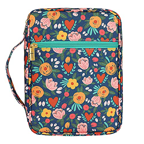 Bible Cover, Christ Garden Canvas Bible Case with Floral Pattern for Women Girls 7.5x10x2.5 in, Fits Bibles Up to 6.4X 9.2x2 in