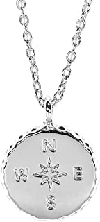 Compass Gold or Silver Necklace - Brass Base, Rhodium Plating - 16 Inches, 2-Inch Extender