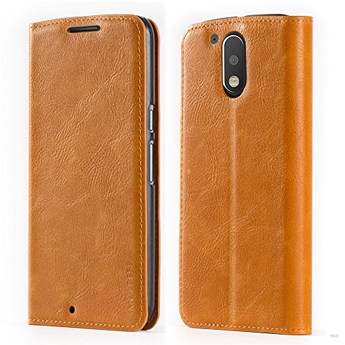 Mulbess Funda Motorola Moto G4 Plus [Libro Caso Cubierta] Slim de Billetera Cuero de la PU Carcasa para Motorola Moto G4 / G4 Plus Case, Marrón