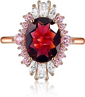 LAZLUVU Rose Gold Plated Engagement Wedding Band Ring for Women Dark Purple Stone Flower Design Elegant Bridal Jewelry