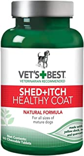 Vet`s Best Shed + Itch Healthy Coat Chewable Tablets for Dogs, 50 Count, 6 Pack