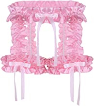 dPois Mens Soft Satin Sissy Frilly Ruffled Thigh Garter Belt Hollow Out Panties Underwear