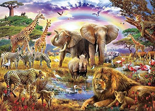 EACHHAHA 1000 Piezas Puzzle,Bosque de Las Bestias Puzzles para Adultos, 70x50CM,Rompecabezas de Piso Juego de Rompecabezas y Juego Familiar