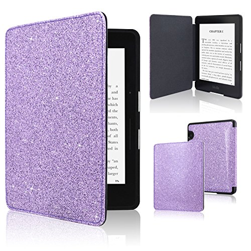 ACdream Kindle Voyage Case, The Thinnest and Lightest Premium PU Leather Cover Case for Kindle Voyage (2014) with Auto Wake Sleep Feature, Glitter Purple