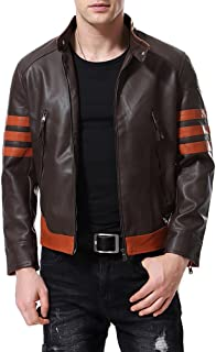AOWOFS Men's Faux Leather Jacket Brown Moto Motorcycle Bomber Punk Fashion Slim Fit Coat