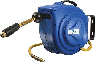 as - Schwabe Automatischer Druckluft-Schlauch-Aufroller – 10 m PVC-Gewebe Druckluftschlauch & 1 m Anschlussschlauch – Drucklufttrommel mit Schlauchstopp & Schnell-Verschlusskupplung – Blau I 12612