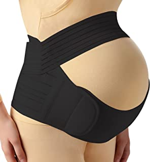 Maternity Belly Band, Multifunctional Pregnancy Support Belt for Pelvic Support, Portable Pregnancy Belly Band Pain Relief, Best Gift for Pregnancy Women at Home/Outdoors (Black Color, X-Large Size)