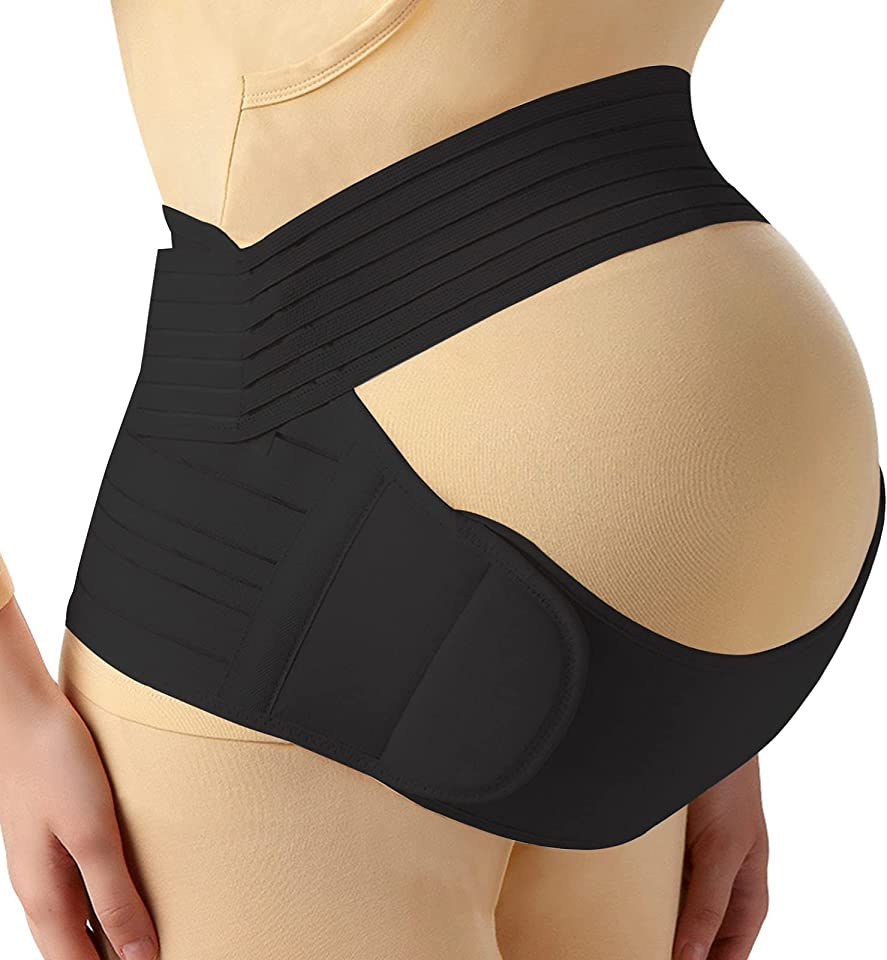 Pregnancy Belly Band, 3-in-1 Belly Band for Pregnancy Back Support, Superior Quality Pelvic Support Belt for Pregnancy Pain Relief with Adjustable and Comfortable Materials (Black Color, Medium Size)