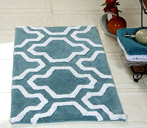 Saffron Fabs Bath Rug 100% Soft Cotton, Size 36x24 Inch, Latex Spray Non-Skid Backing, Arctic Blue/White Color, Geometric Pattern, Hand Tufted, Heavy 190 GSF Weight, Machine Washable, Rectangular