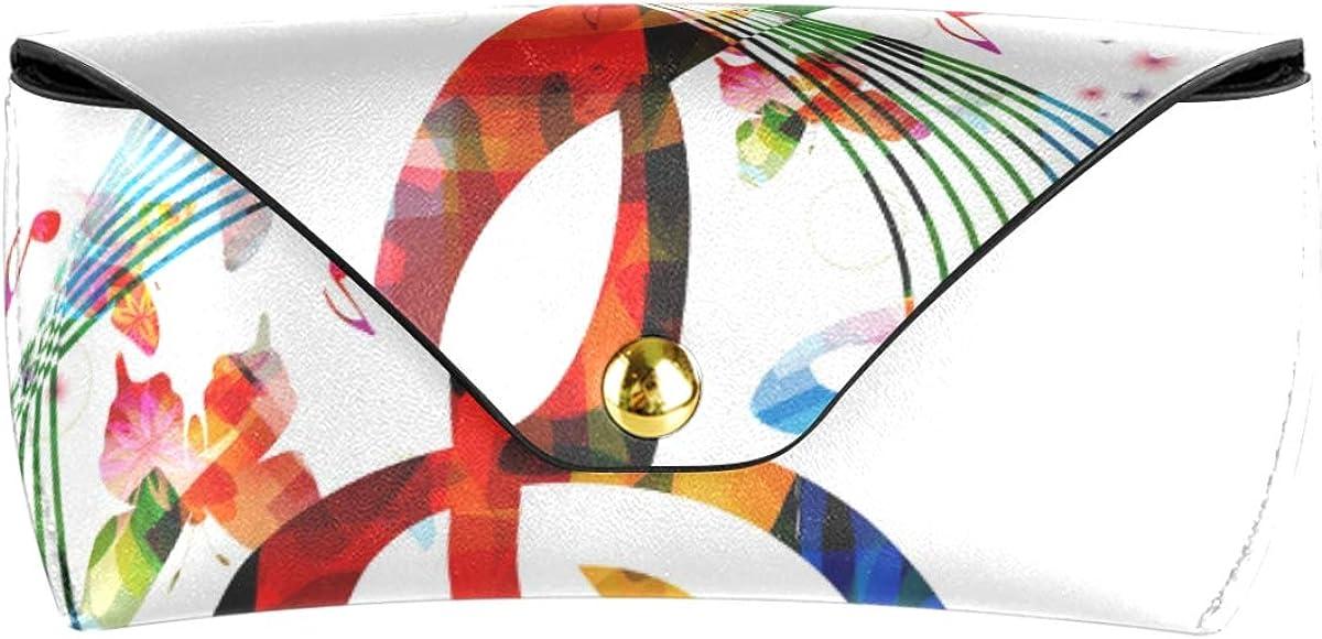 Rainbow Art Music Note PU Leather Sunglasses Case Eyeglasses Pouch Portable Goggles Bag Multiuse Cute