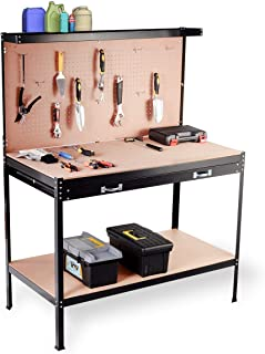 Giantex Workbench with Drawer, Tool Hook and Peg Board Wood Steel Garage Tool Table for Home Workshop Storage Tools