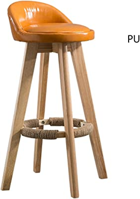 DZ JH& Bar Chair Solid Wood Cafe Chair Simple Home Chair Retro Rotary High Stool Business